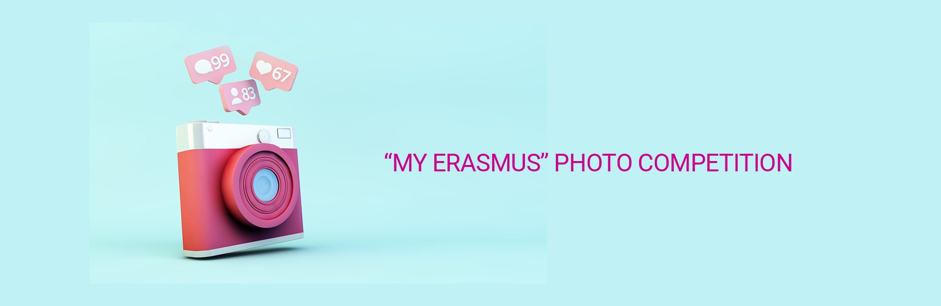 Kamera in fuchsia und aufsteigende rosa likes auf hellblauen Hintergrund