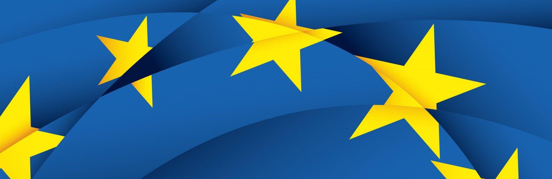 Gelbe EU Sterne auf blauen Hintergrund