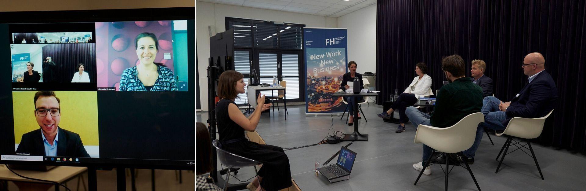 Teilnehmerinnen und Teilnehmer der Podiumsdiskussion diskutieren miteinander. 2 Teilnehmer sind via einem Webinar zugeschalten.