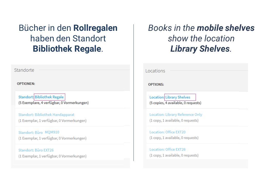 <p>Screenshot des Suchergebnisses mit Hervorhebung des Standortes Bibliothek.</p>